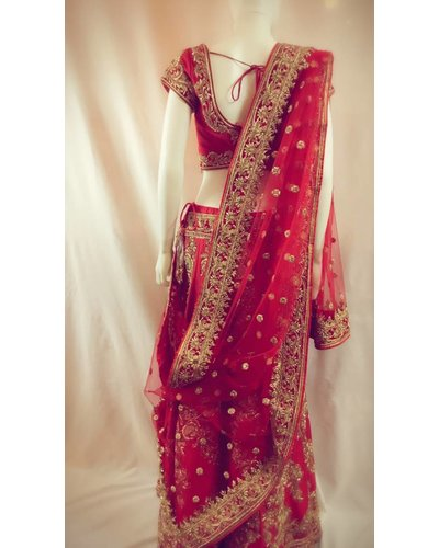 Bridal Red Lehenga w/ French knots, zari, Zardsozi, Lct, Crystals and Sequence on Pure silk