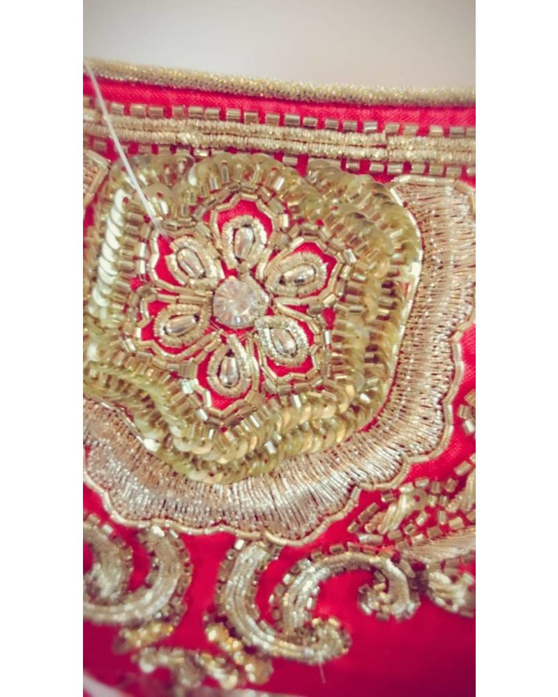 Bridal Red Lehenga w/Nalki , Sequence and Lct Crystals on Pure Silk