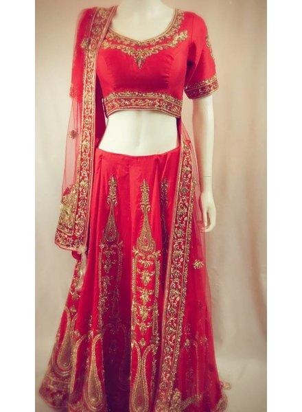 Bridal Red Lehenga with Kundun