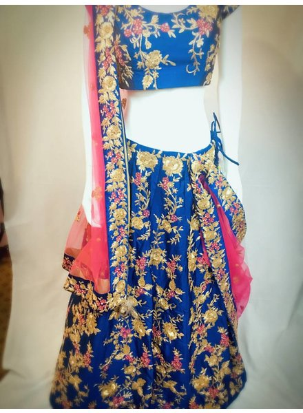 Bridal Blue and Hot Pink Lehenga w/ Aari Zardsozi and Threadwork on Pure Silk