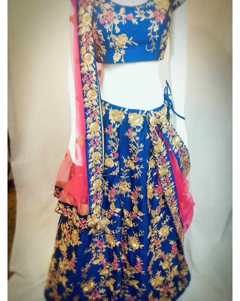 Bridal Blue and Hot Pink Lehenga w/ Aari Zardsozi and Threadwork on Pure Silk