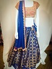 Bridal Blue Brocade silk and Pink lehenga w/ LCT crystals Nalki and sequence on Brocade silk