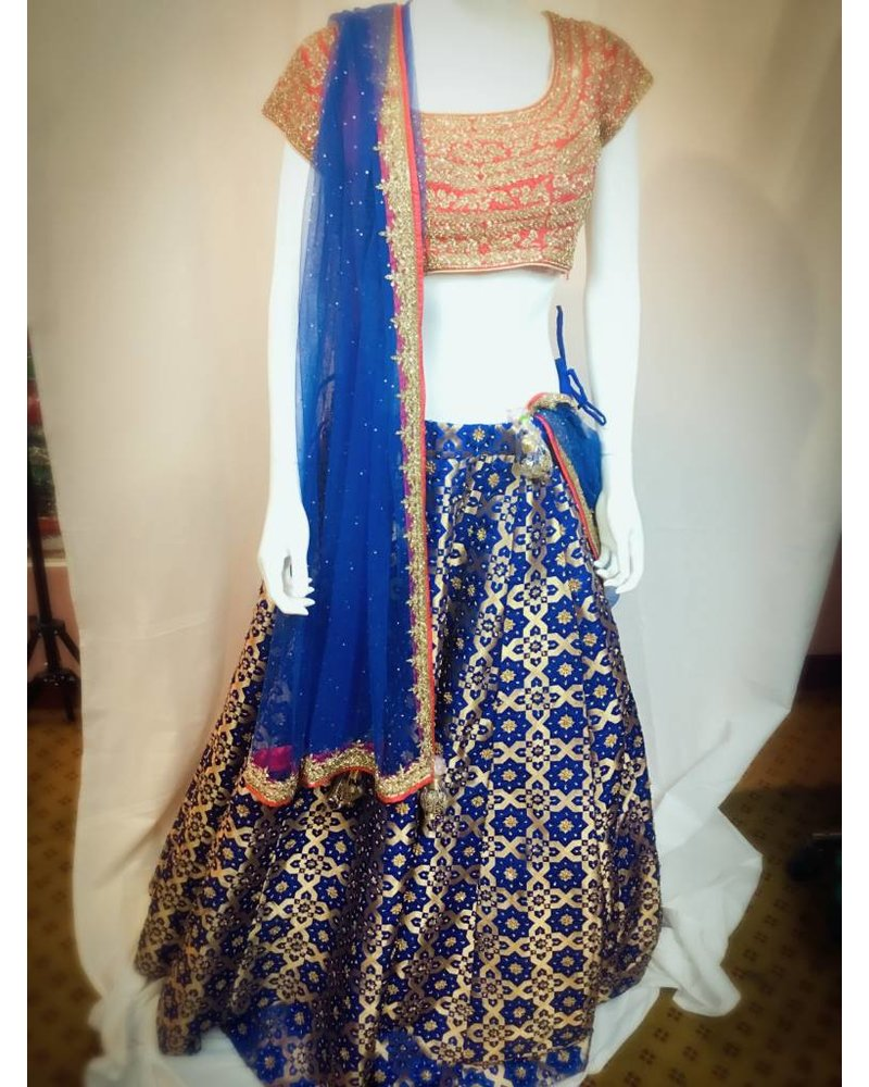 Bridal Blue Brocade silk and Pink lehenga