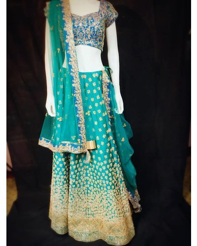 Bridal Sky Blue Lehenga w/ Micro Pearl and Threadwork on Pure Silk