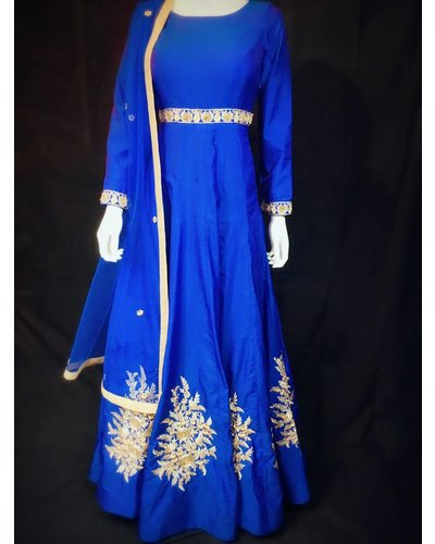 Party wear Blue Gown w/ Nalki Micro pearl and Resham Thread on Pure Silk