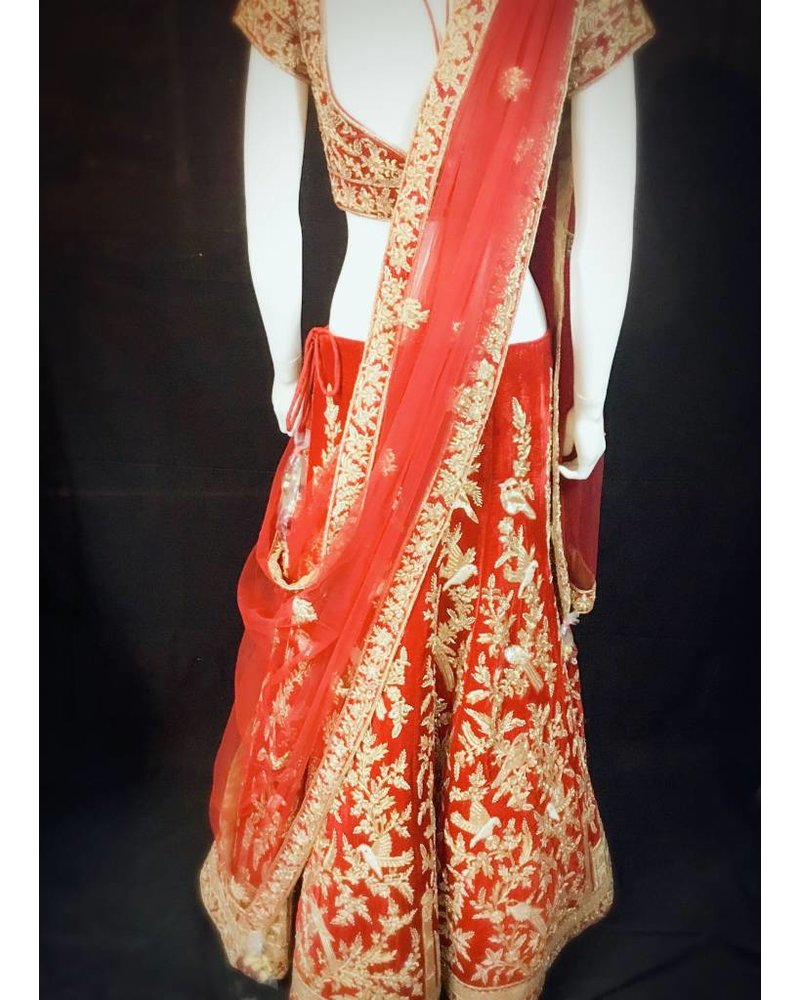 Bridal Red Lehenga w/ French Knots Sequence Thread work Nalki Zari And Zardsozi Taj Mahal on Micro Velvet