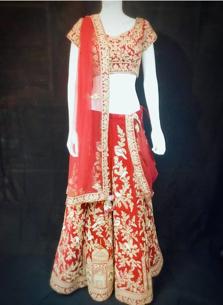 Bridal Red Lehenga w/ French Knots Sequence Thread work Nalki Zari And Zardsozi Taj Mahal on Micro Velvet