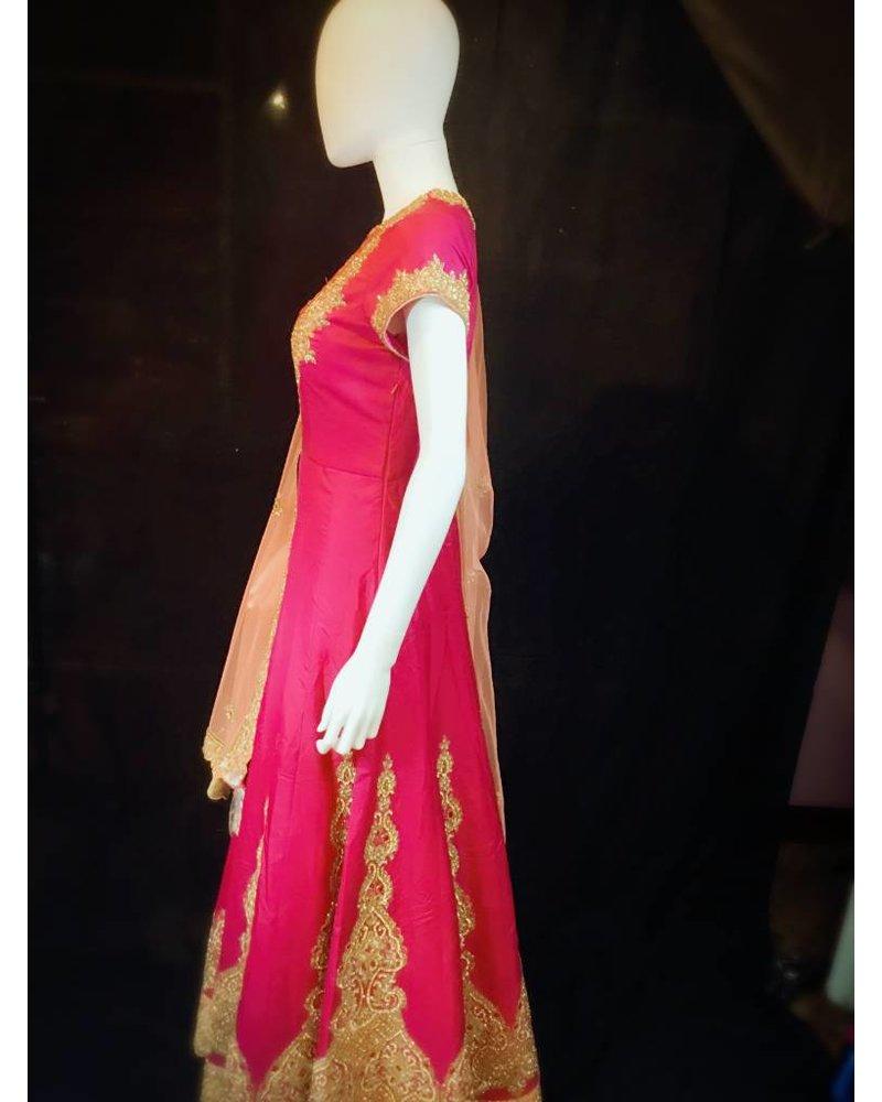 Bridal Pink and Peach Lacha w/ Lct Crystals Nalki Aari  Zari and Zardsozi on Pure Silk