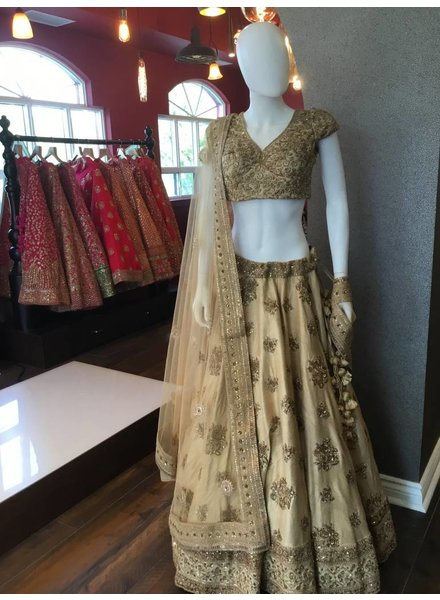 Bridal Gold Lengha w/ Zaridozi, Golden Thread and Sequenced Work on Pure Silk and Net Dupatta