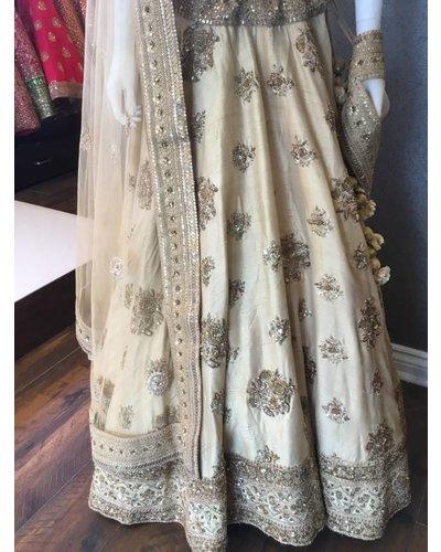Bridal Gold Lengha w/ Zaridozi, Golden Thread and Sequenced Work on Pure Silk and Net Dupatta