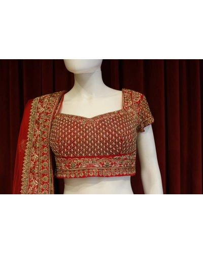 Bridal Red and Orange Lehenga w/ crystal and gold threadwork on silk