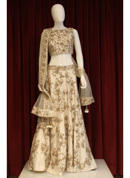 Bridal White and Gold Lehenga w/ gold threadwork on silk