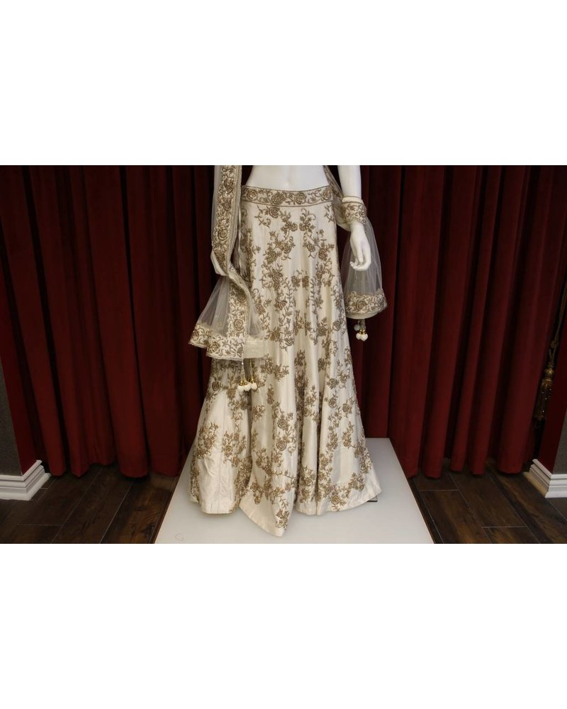 Bridal White and Gold Lehenga