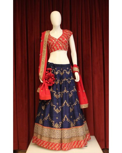 Bridal Red and Navy Blue Lehenga w/ sequence and thread work on silk