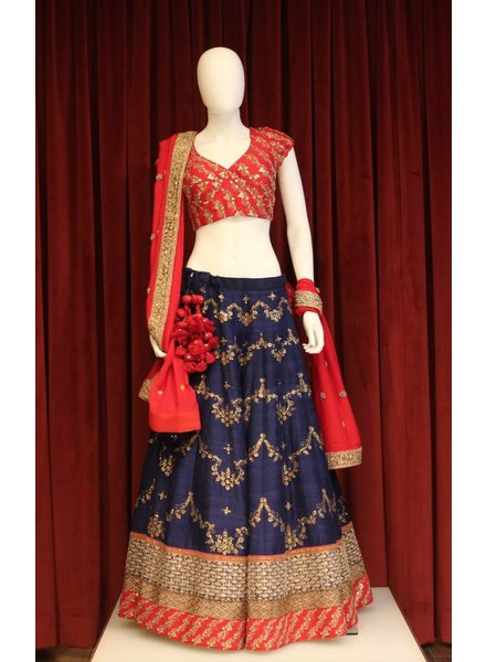 Bridal Red and Navy Blue Lehenga