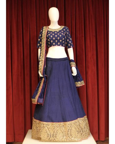 Bridal Navy Blue Lehenga w/ sequence and threadwork on silk