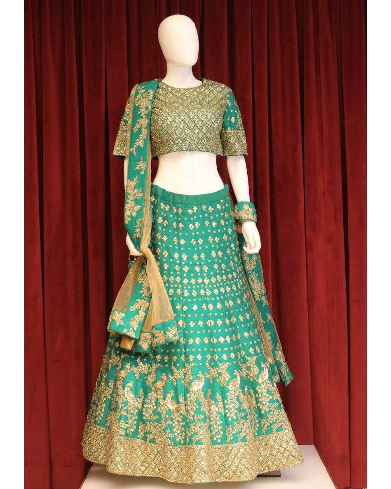 Bridal Peacock Green Lehenga