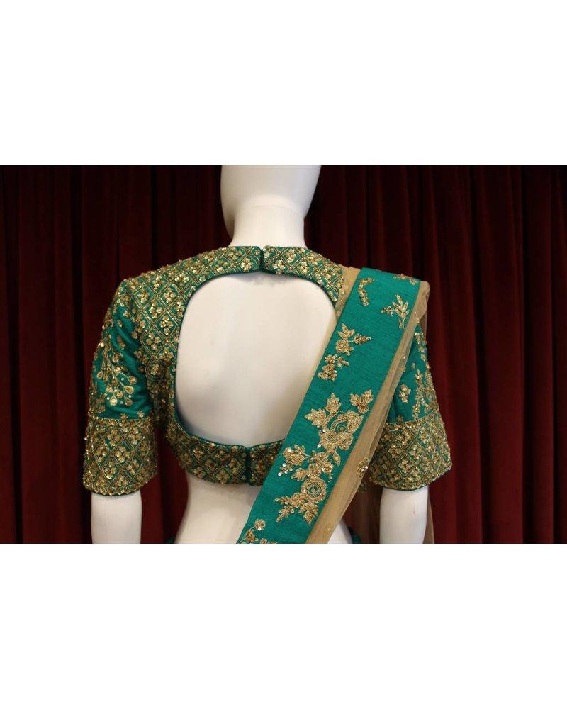 Bridal Peacock Green Lehenga w/ sequence work on silk