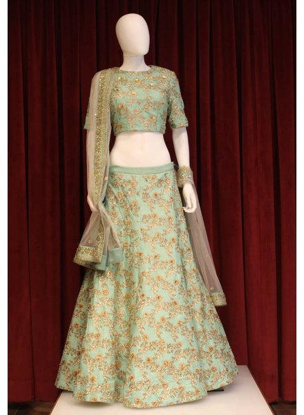 Bridal Sea Green Lehenga w/ sequence and threadwork on silk