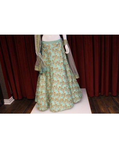 Bridal Sea Green Lehenga w/ sequence and threadwork on silk