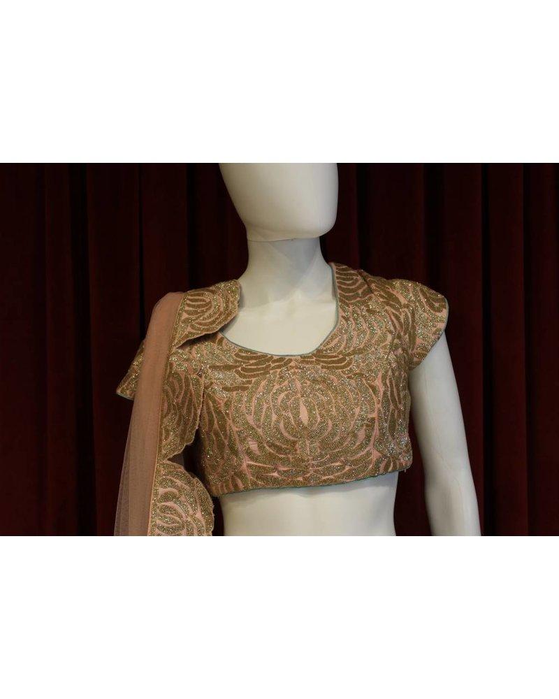 Bridal Mint and Peach Lehenga w/ sequence work on raw silk