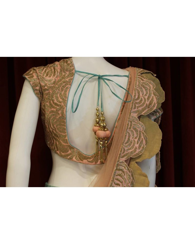 Bridal Mint and Peach Lehenga
