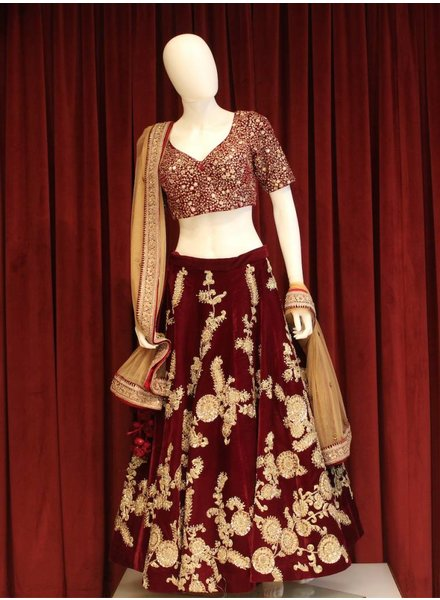 Bridal Maroon Lehenga w/ gold threadwork on velvet
