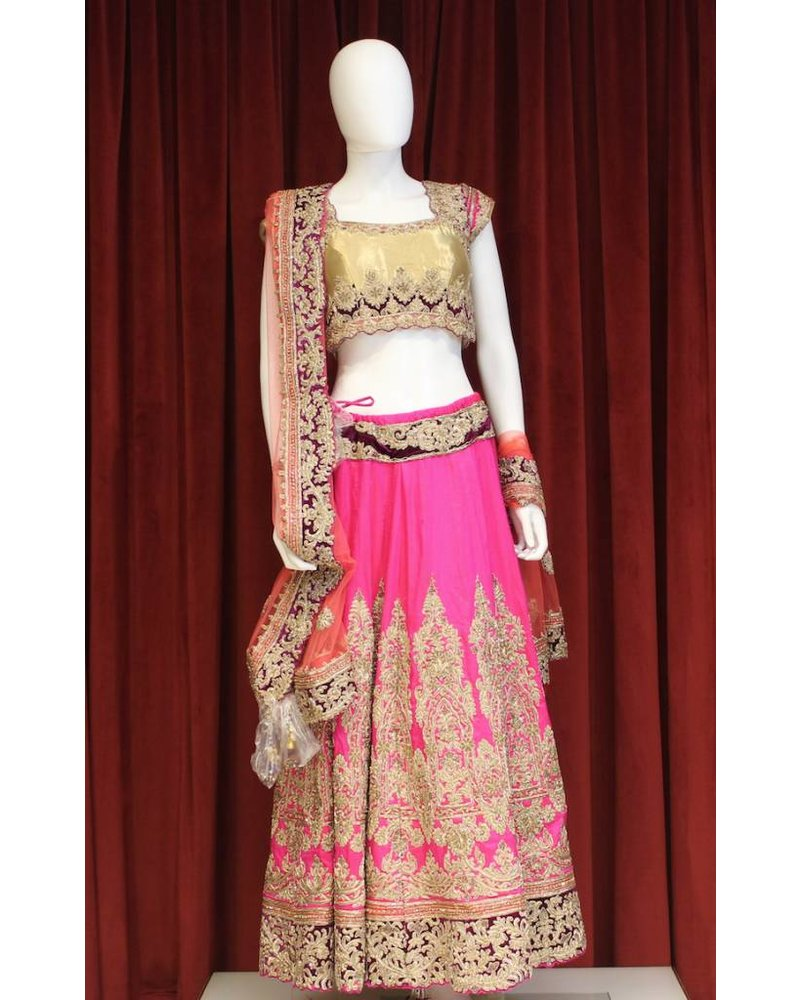 Bridal Hot Pink and Gold Lehenga