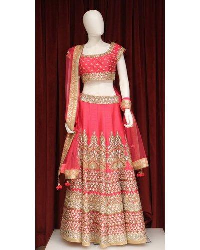 Bridal Pink Lehenga w/ sequence and gota patti work on silk