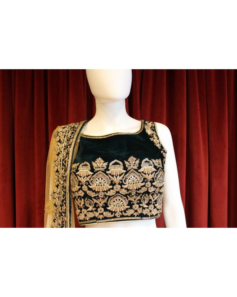 Bridal Dark Green Lehenga w/ zari jardosi work on velvet