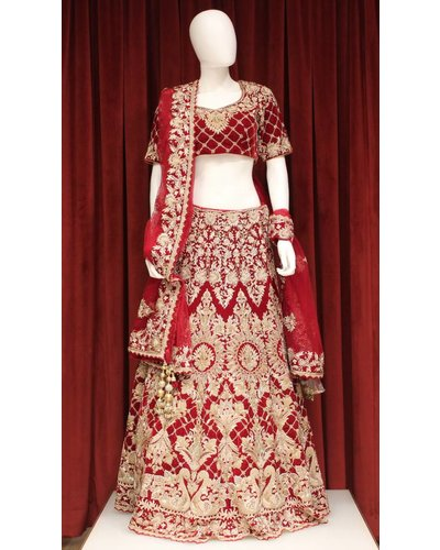 Bridal Red Lehenga w/ zari jardosi work on velvet