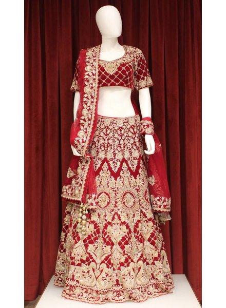 Bridal Red Lehenga w/ zari jardosi work on velvet