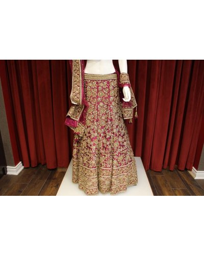 Bridal Purple Lehenga w/ zari jardosi work on silk