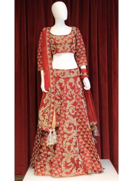 Bridal Red Lehenga w/ gold threadwork on silk