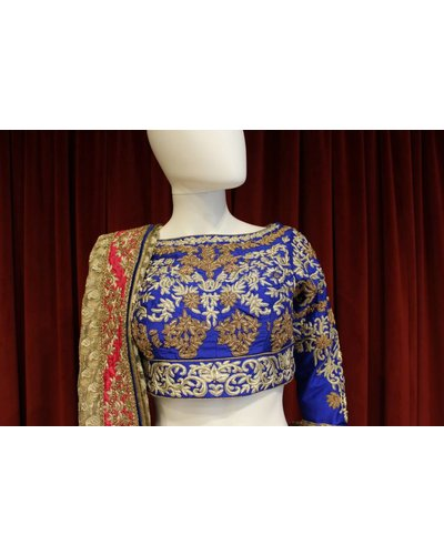 Bridal Hot Pink and Blue Lehenga w/ gold and silver threadwork on silk