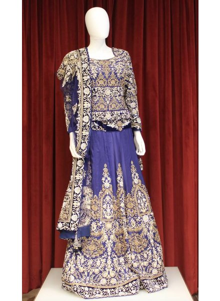 Bridal Blue Lehenga w/ threadwork on silk