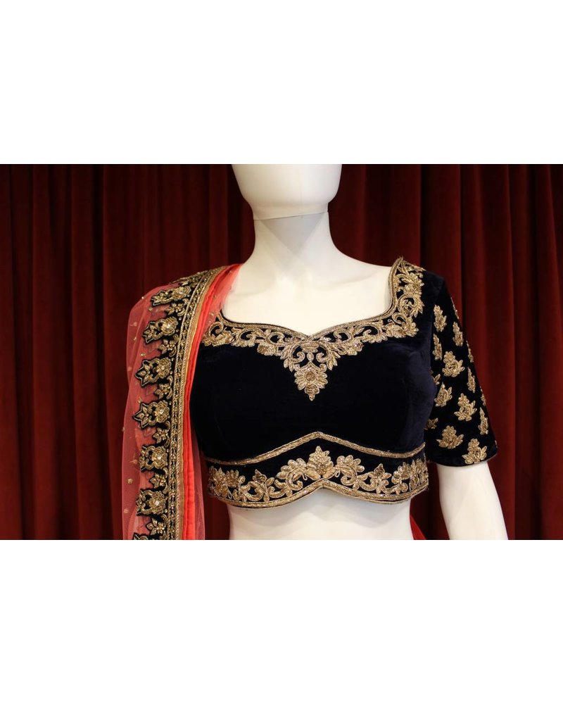 Navy Blue Velvet Lehenga with Gold, Silver and Pink Details