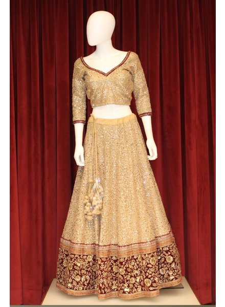 Bridal Gold Lehenga w/ sequence on silk