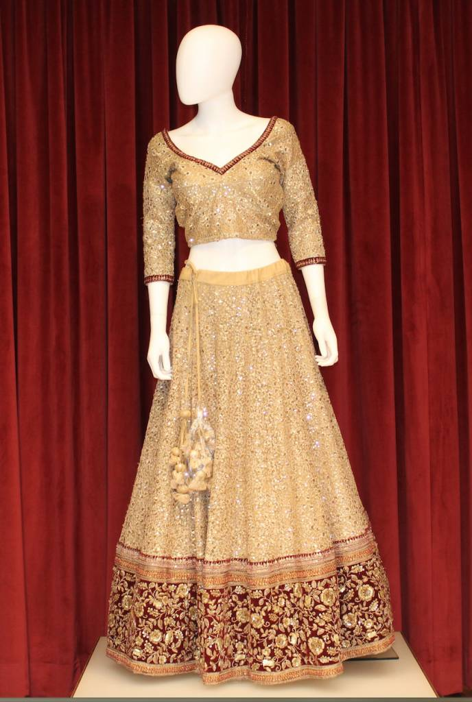 pakistani light gold jamawar gown dress bridal product lehenga