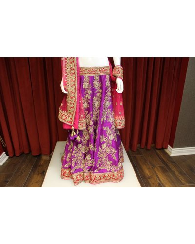 Bridal Purple and Pink Lehenga w/ gold threadwork on silk
