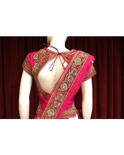 Bridal Hot Pink Lehenga w/ threadwork on silk