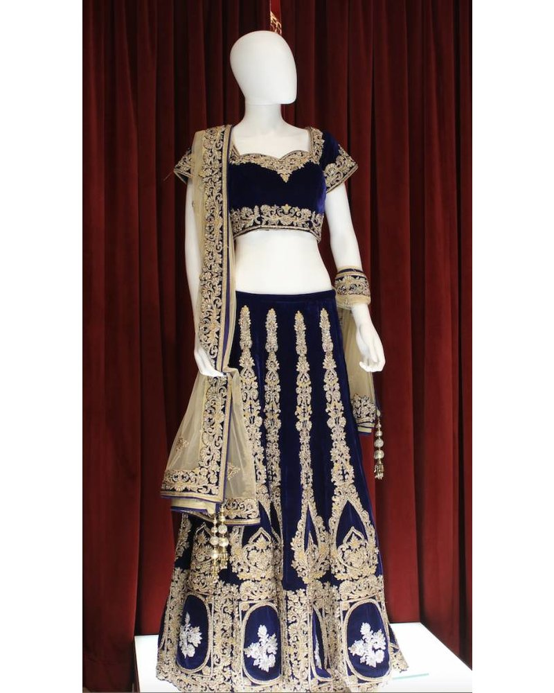 Bridal Navy Blue Lehenga