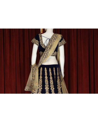 Bridal Navy Blue Lehenga w/ threadwork and crystal on velvet