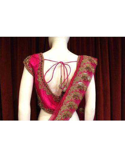 Bridal Hot Pink Lehenga w/ zari jardosi work on silk