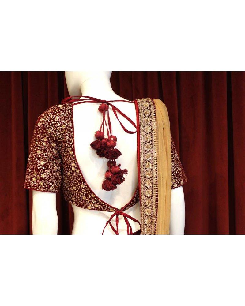 Bridal Maroon Lehenga w/ gold threadwork on velvet