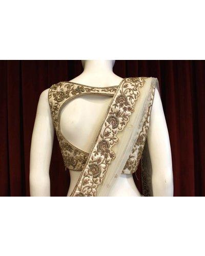 Bridal White and Gold Lehenga w/ gold threadwork on silk