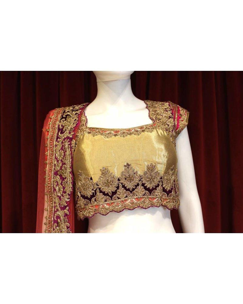 Bridal Hot Pink and Gold Lehenga w/ gold thread work on silk
