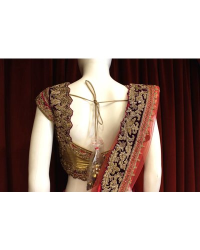 Bridal Hot Pink and Gold Lehenga w/ gold thread work on silk