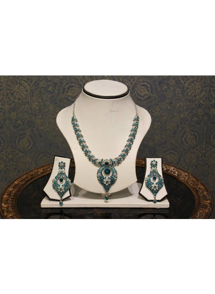 Bright Blue and Silver Necklace Set