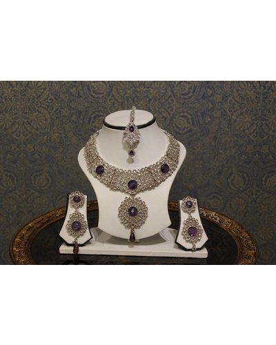 Silver Net with Purple Stone Necklace Set
